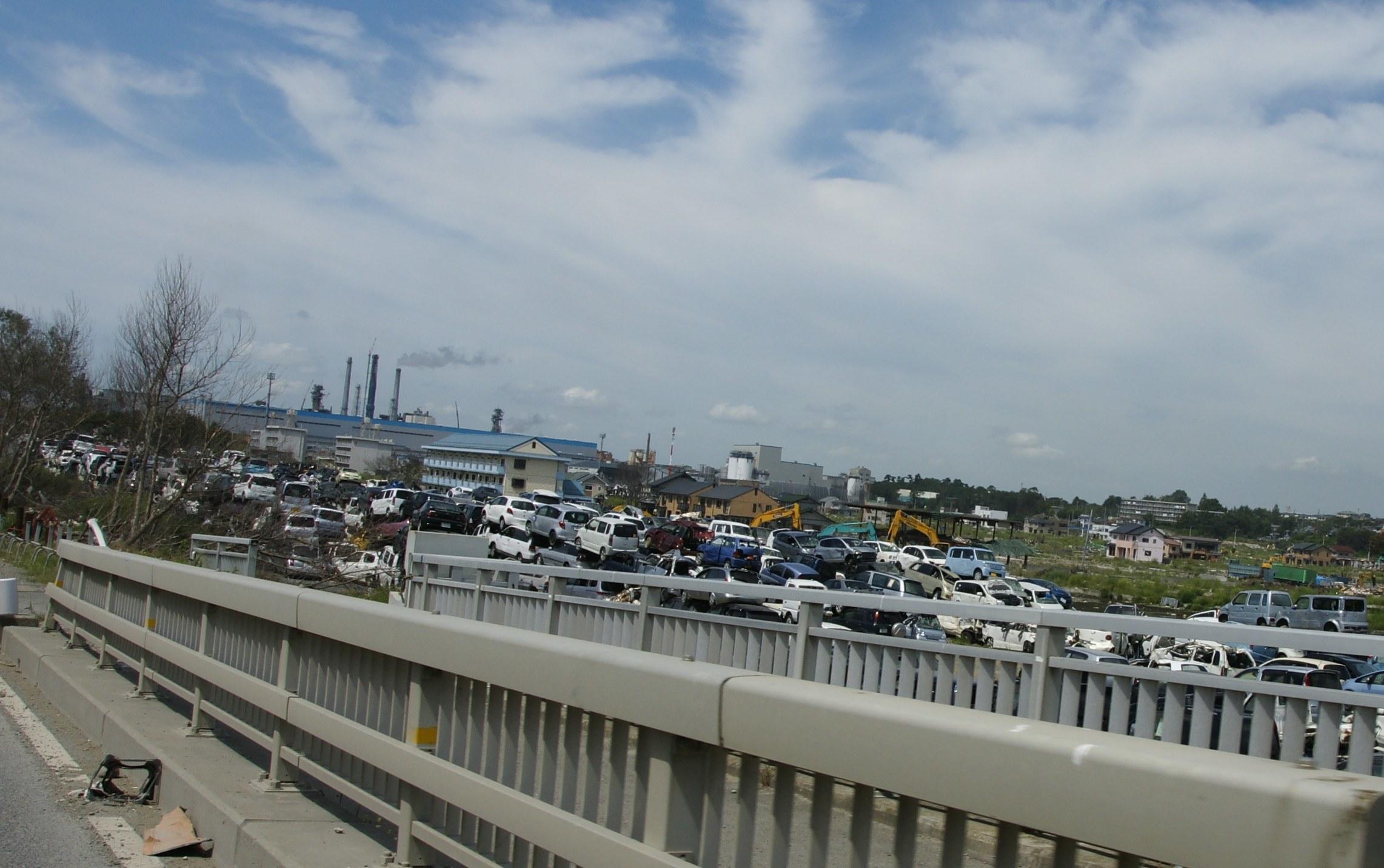 Piles of scrap cars