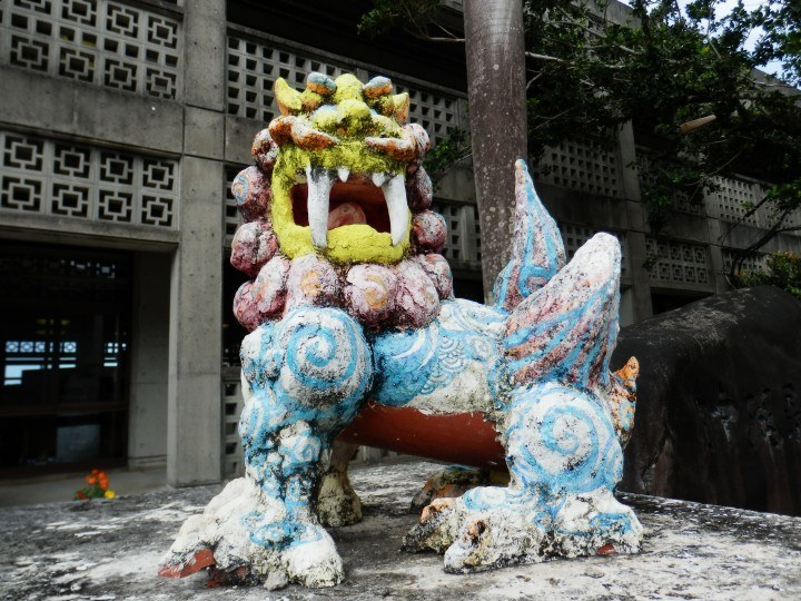 These three painted shisa caught my eye in a street near Naha's Shuri castle.