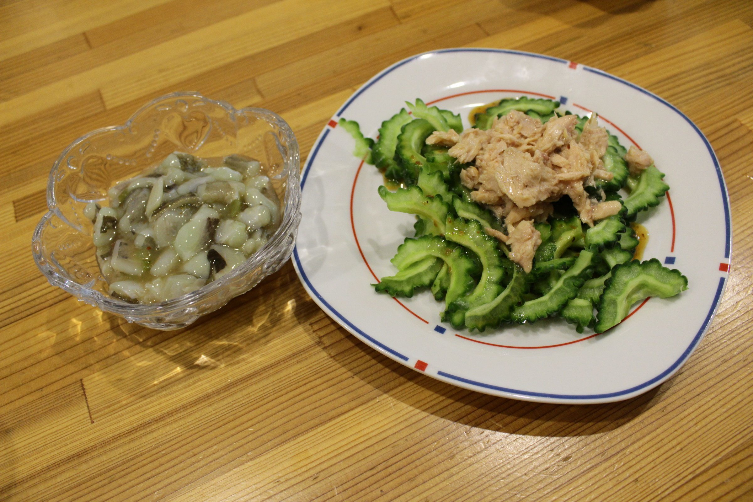 Goya salad with a side of wasabi octopus