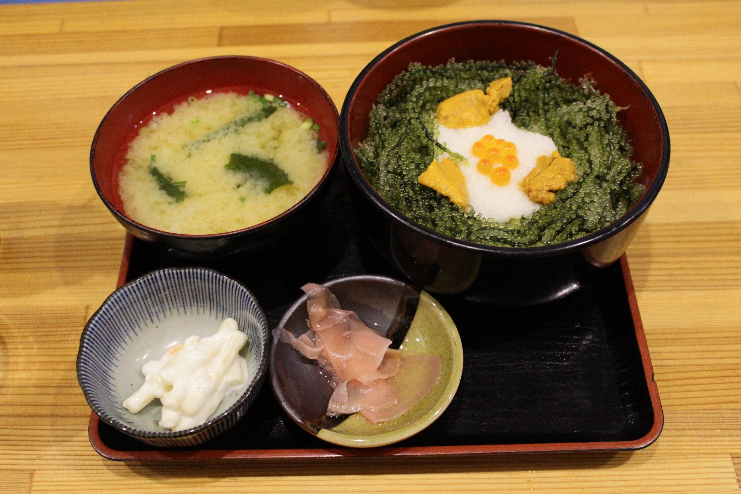 Umi Budou (the green stuff) with set menu