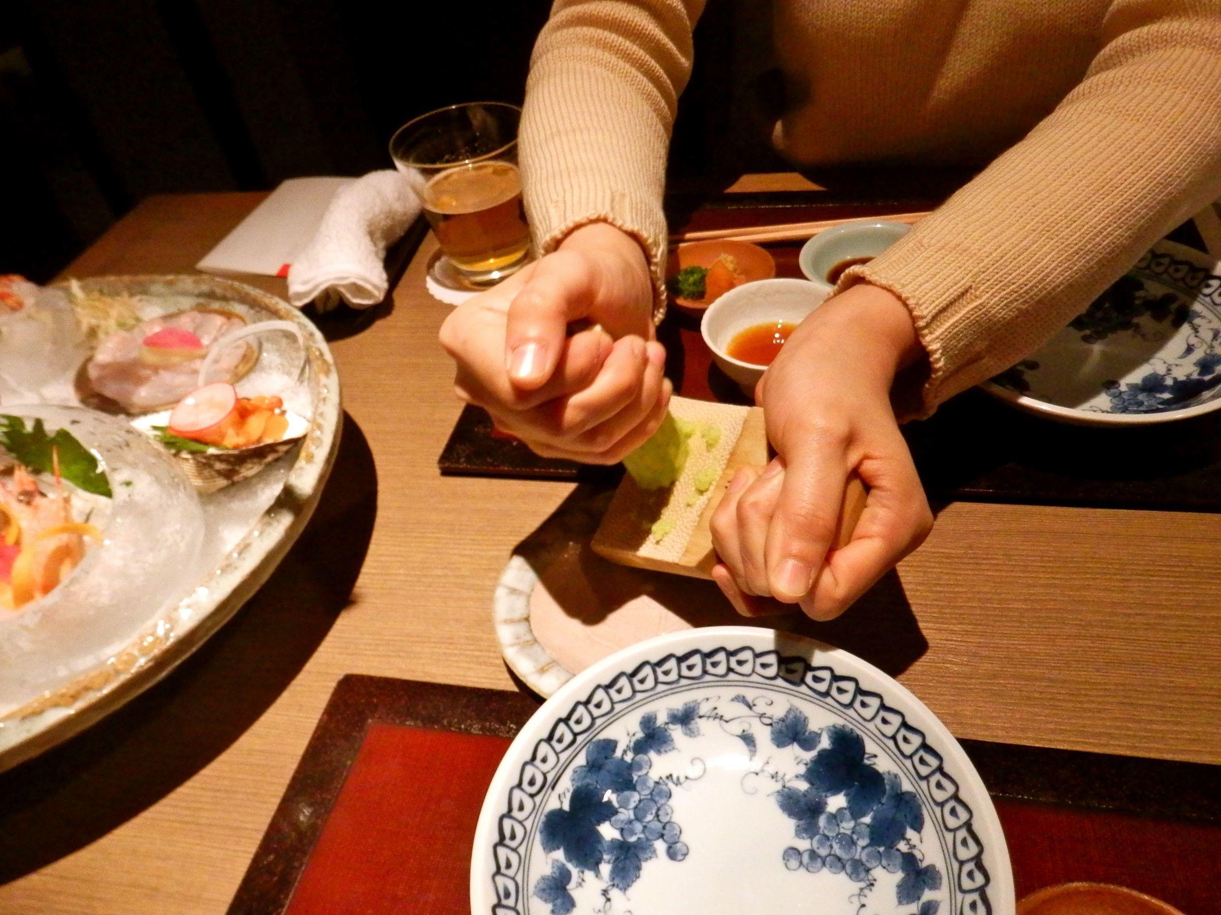 Nakamura-san grates some fresh wasabi