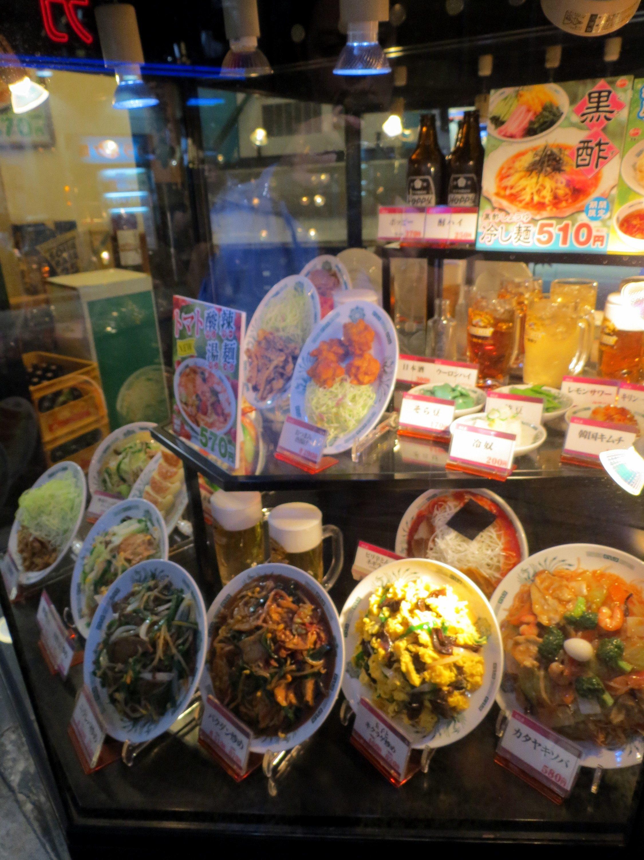 Plastic food in a restaurant window in Tokyo