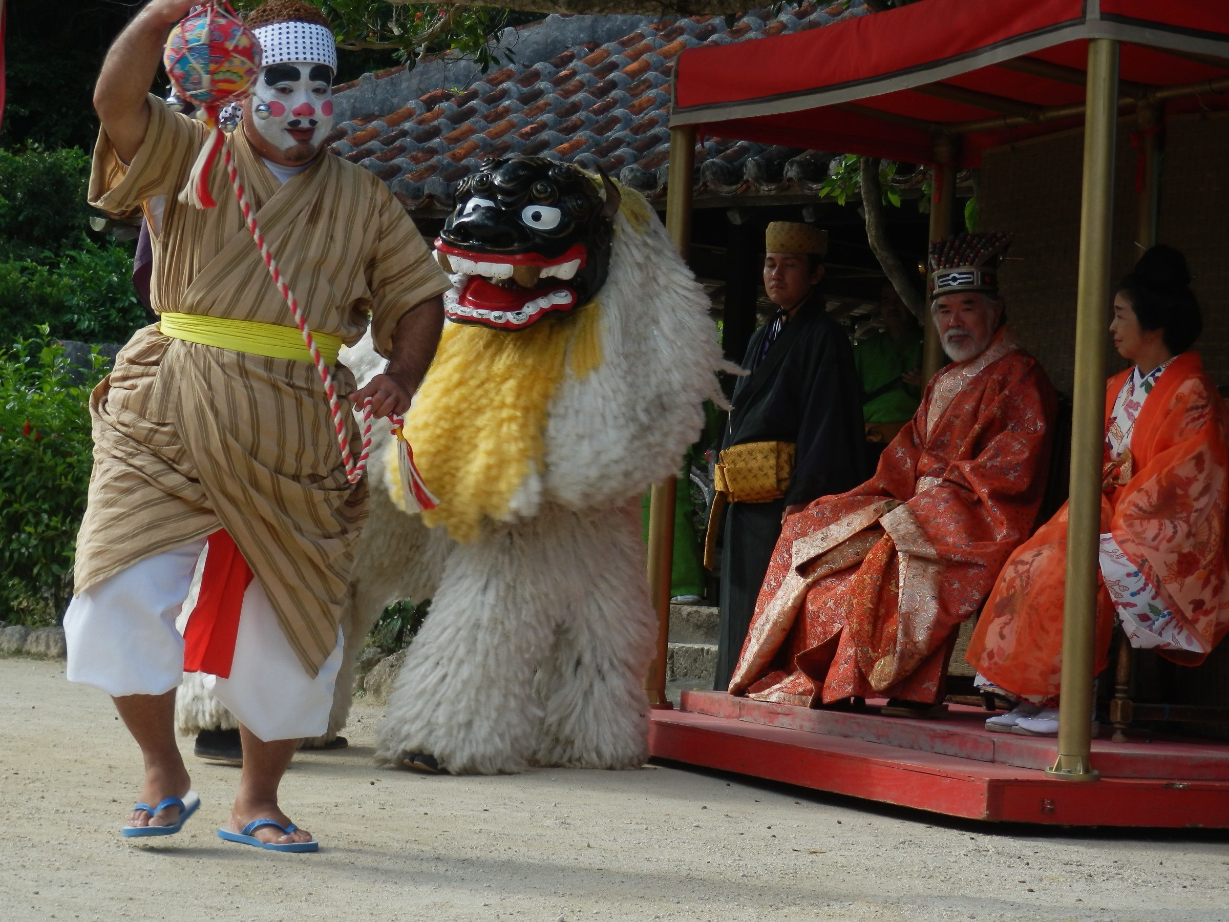 "Performance of ""Eisa,"" traditional Ryukyuan dance, at Ryukyu Mura in Okinawa"