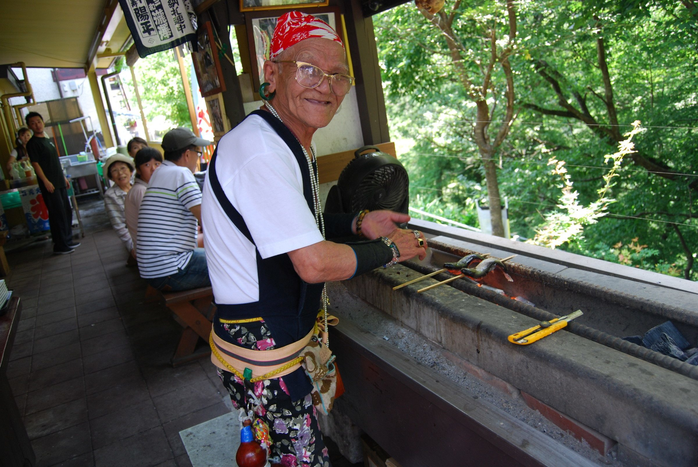 Serving up freshly cooked fish with style at the Ryuo Gorge