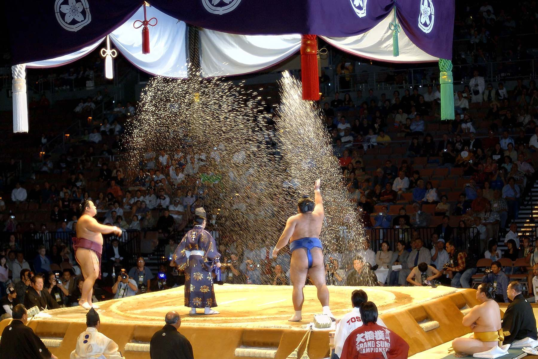 Sumo wrestlers throw salt before a match to purify the ring