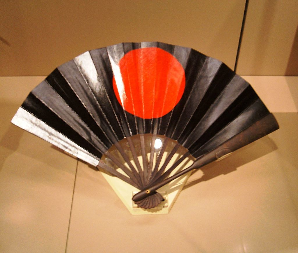 Antique tessen, c. 1800-1850, made of iron, bamboo and lacquer