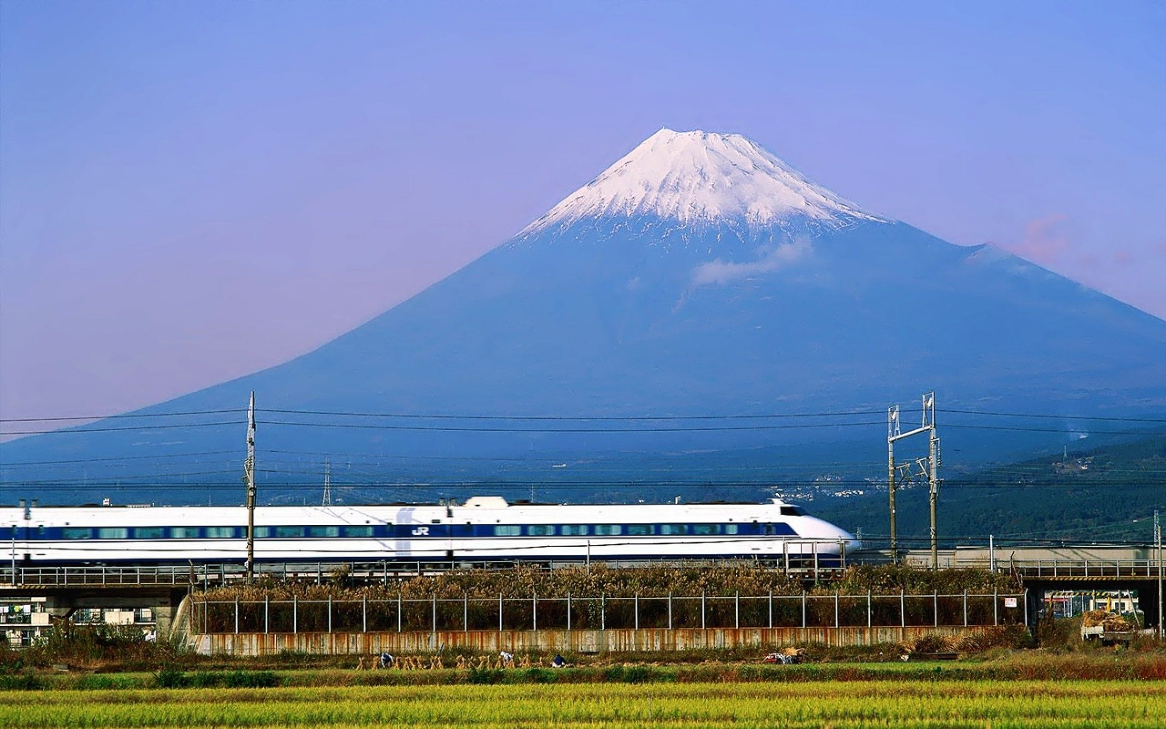 Two icons of modern Japan: the bullet train and Mount Fuji