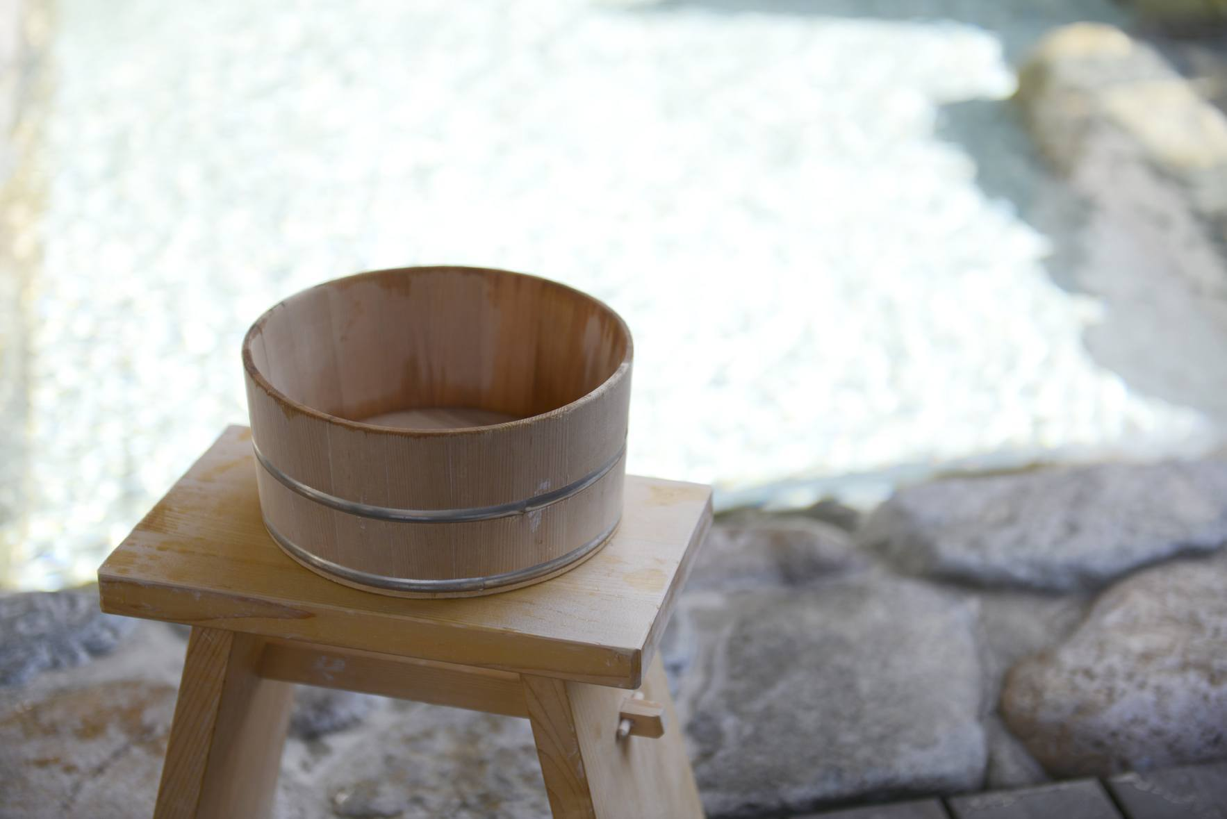 Typical bucket and stool used for washing at an onsen (Photo: Kifu no Sato)