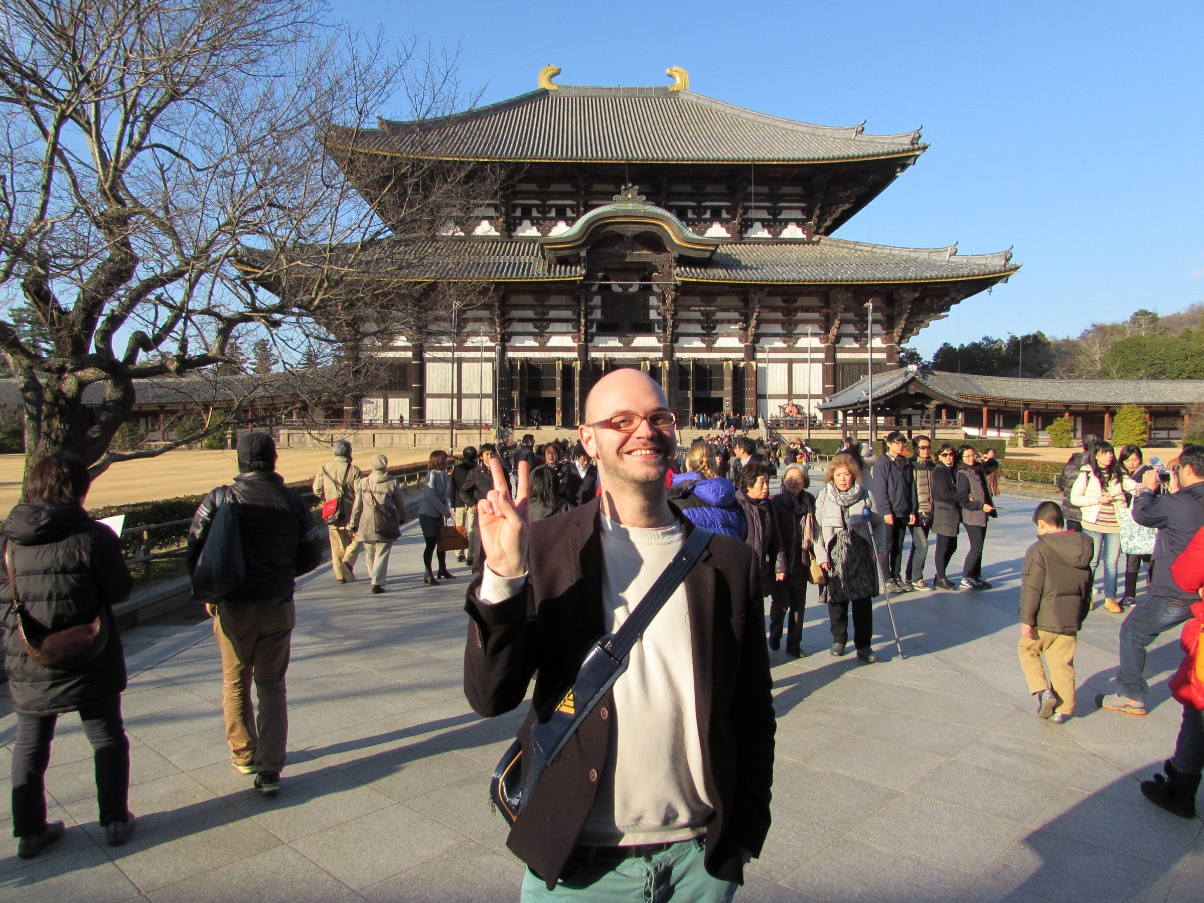 Todai-ji temple (the largest wooden structure in the world!) looked as beautiful as ever, even with my ugly mug blocking the view!