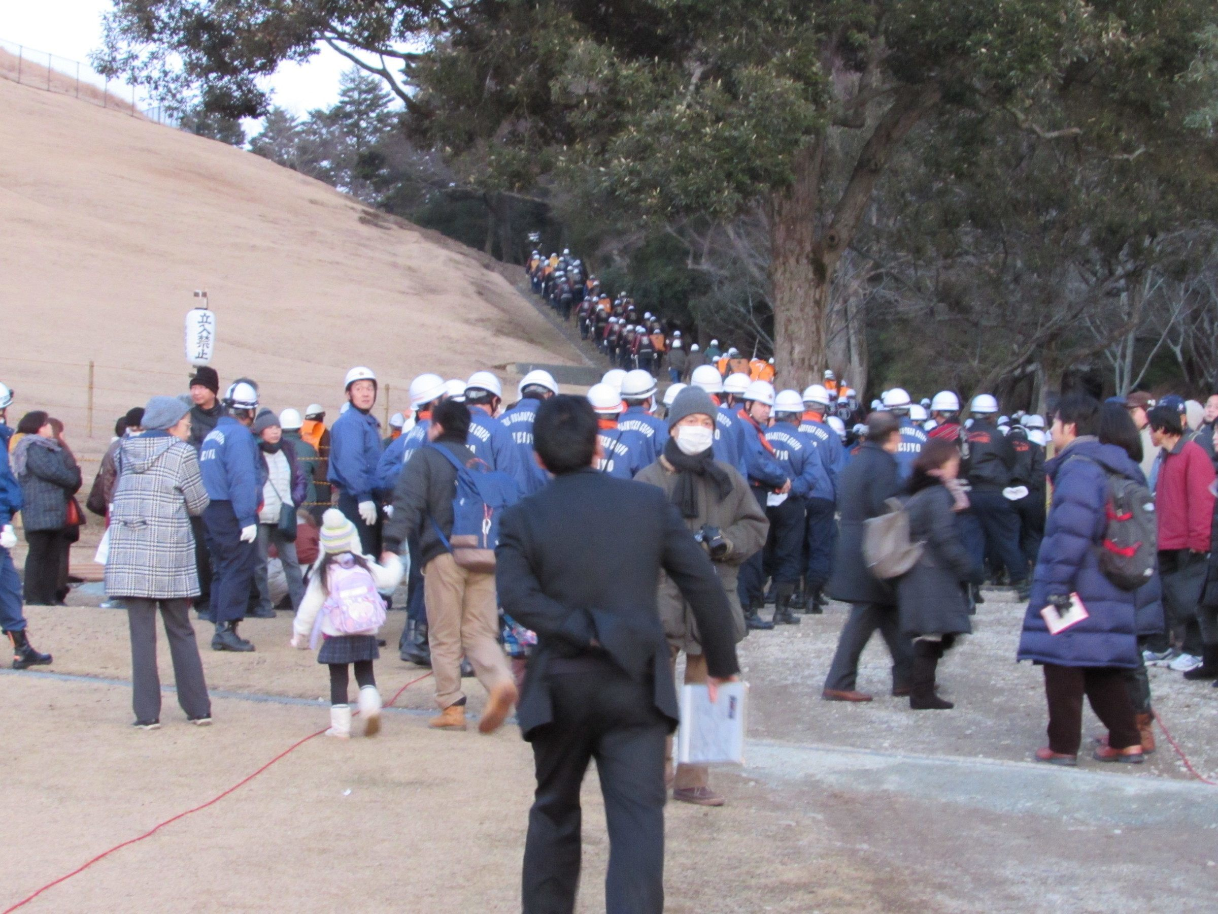 On arrival back at the base of Mt. Wakakusa, there were 300 of Nara's firefighters getting ready to do the exact opposite of their job - to set fire to the mountain!