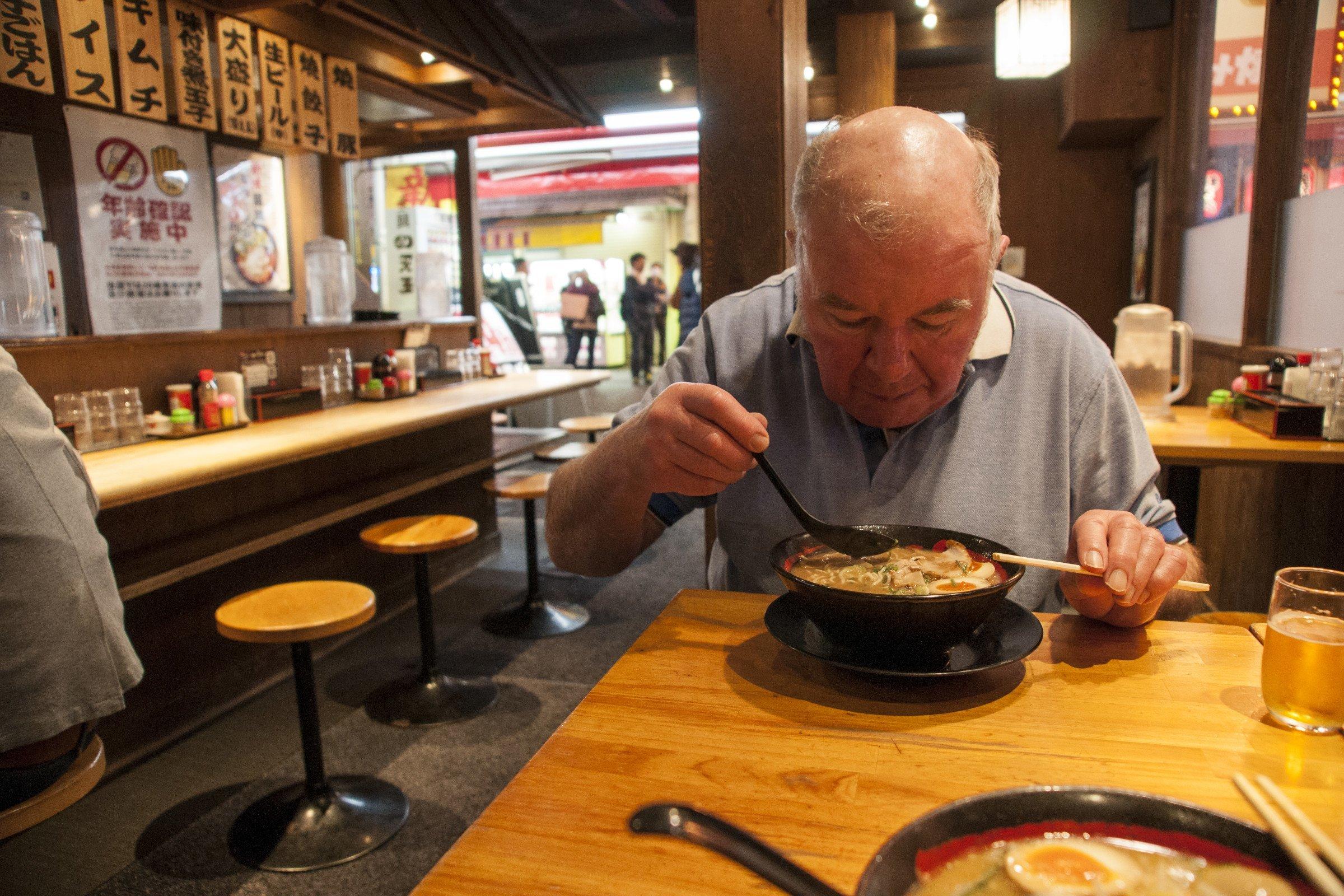 Enjoying a bowl of ramen