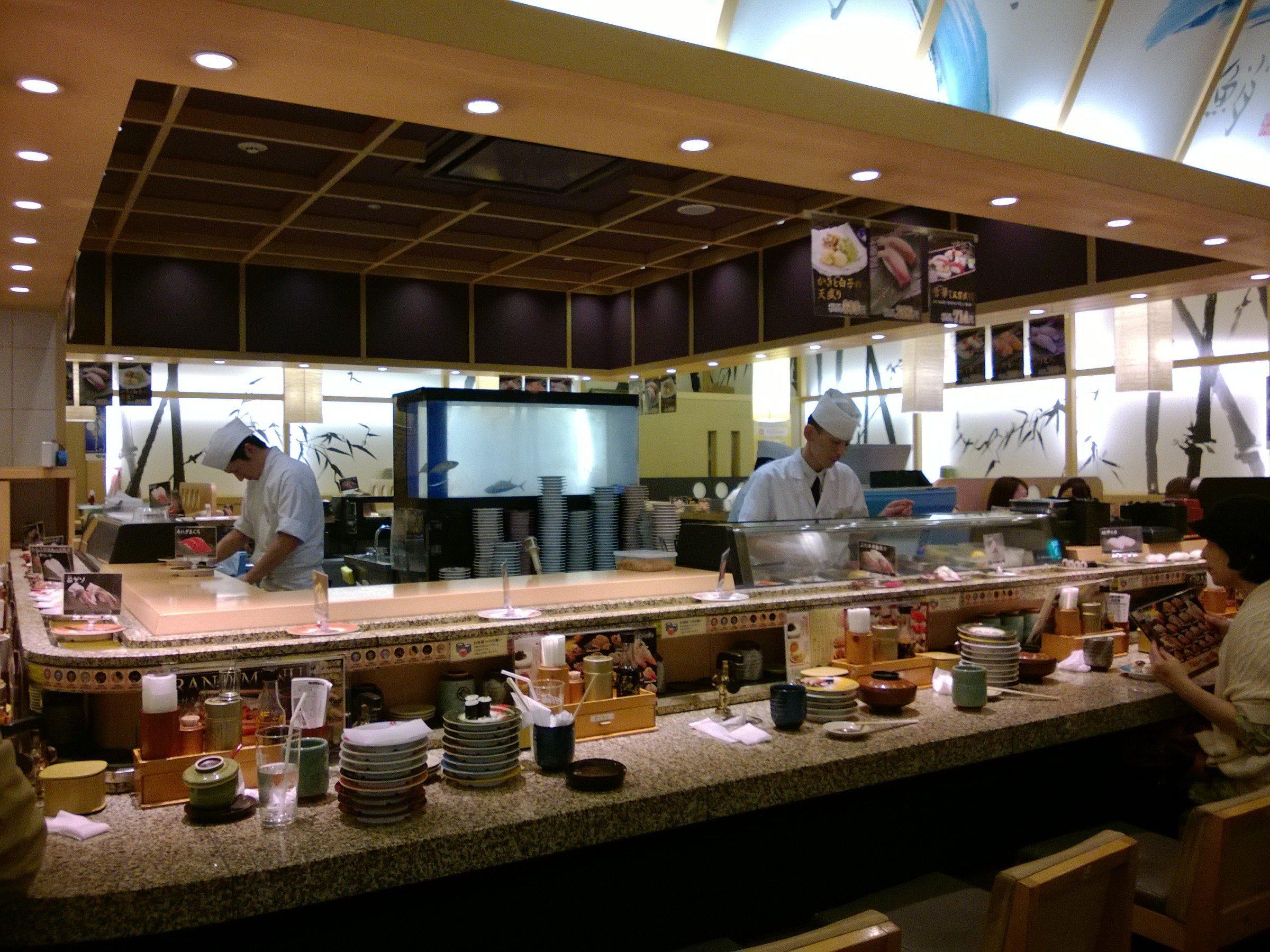 Conveyor-belt sushi in Osaka