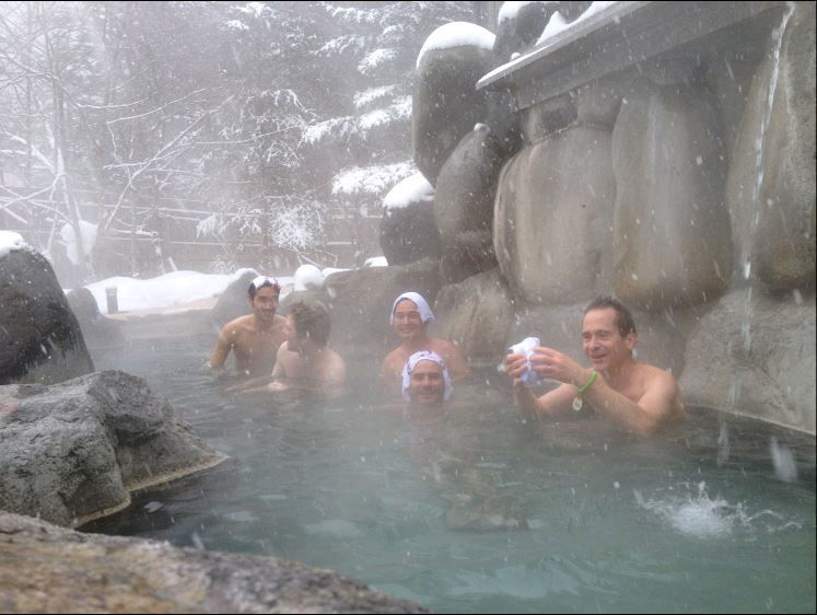 InsideJapan Tours customers enjoying Hirayu Onsen in the snow