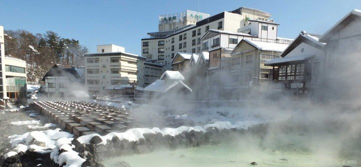 Yubatake at the centre of Kusatsu Onsen