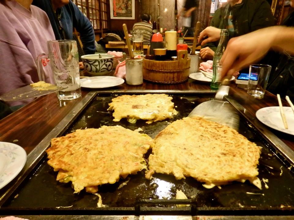 Tucking into okonomiyaki at Sometaro