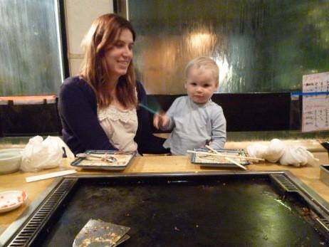 Max & mum Vanessa sampling okonomiyaki