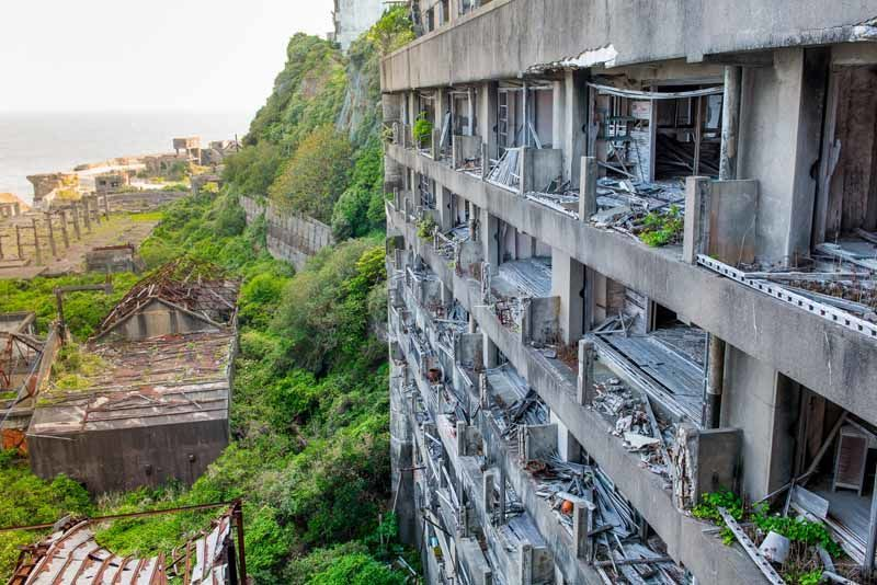 The eerily abandoned Gunkanjima, once a thriving mining island