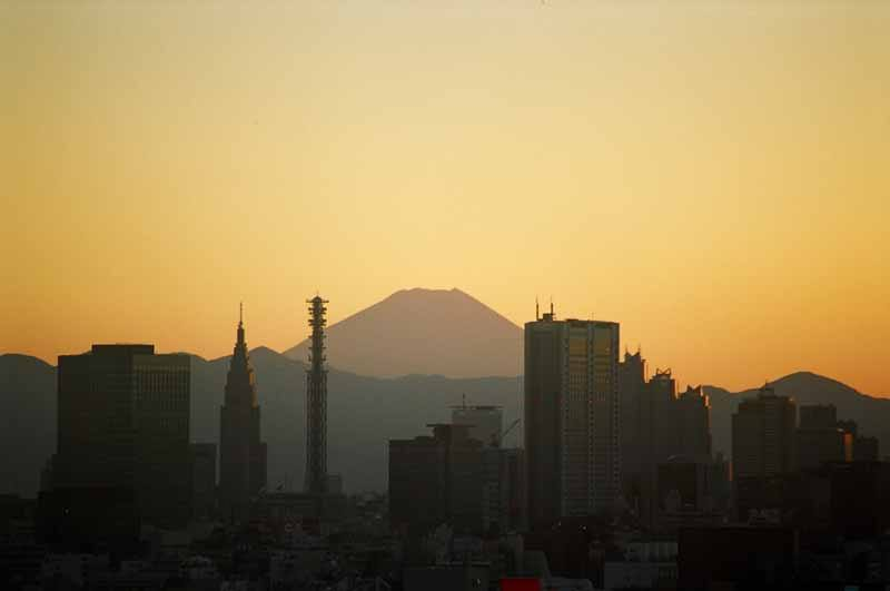 Mount Fuji at sunset, as seen from Tokyo
