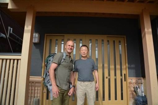 Steve with the friendly owner of Kikuchi Ryokan