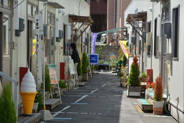 Fureai Shopping Street - all the businesses here occupy temporary units after they were washed away by the tsunami.