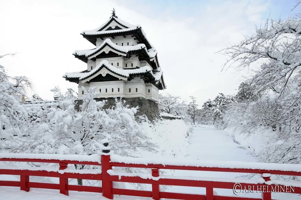 Hirosaki Castle in the snow