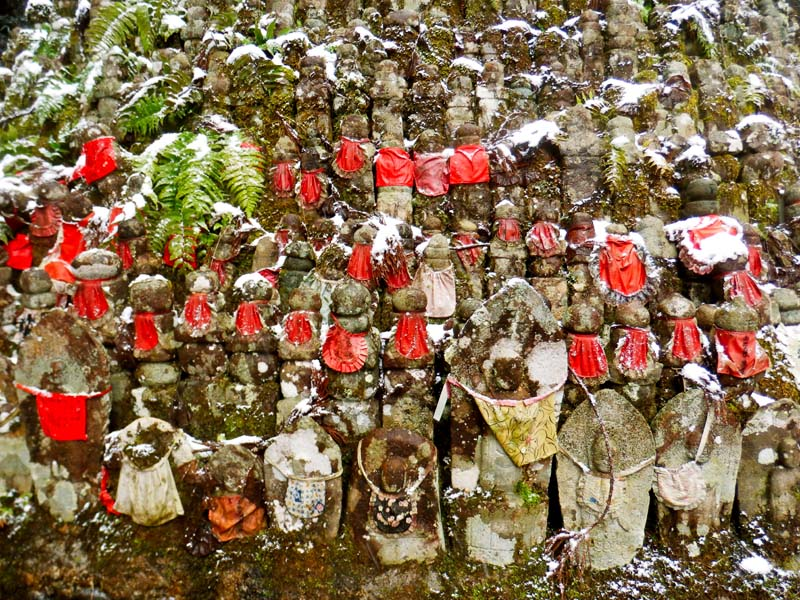 Thousands of small Jizo statues form a pyramid near the heart of Okunoin