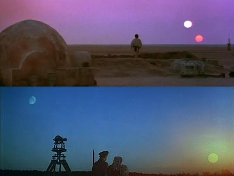 A binary sunrise on Tatooine in Star Wars (Top); The sun and the moon are visible at once in Kurosawa's Dersa