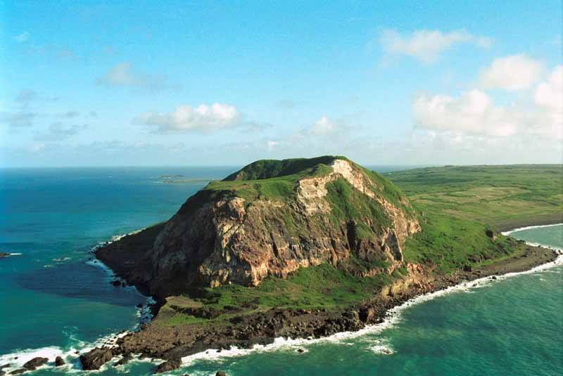 Aerial view of Mount Surabuchi on the Island of Iwo Jima - part of the Ogasawara Island chain
