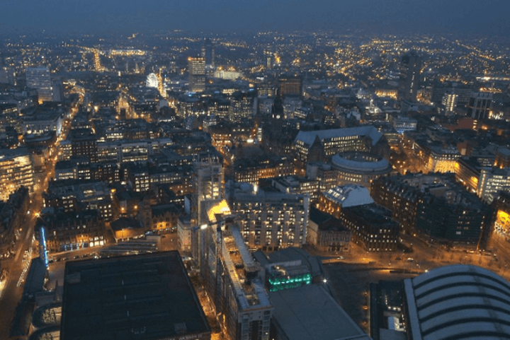 Aerial photography of Manchester at night