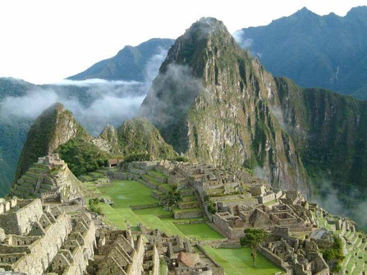 The Incan ruins of Machu Picchu, with Huayna Picchu in the background