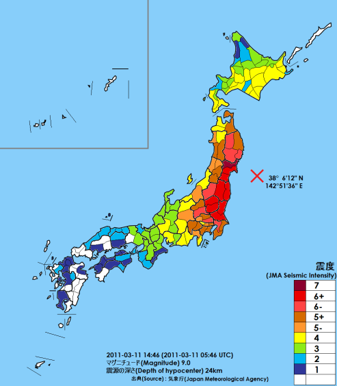 Map of the effects of the Tohoku earthquake