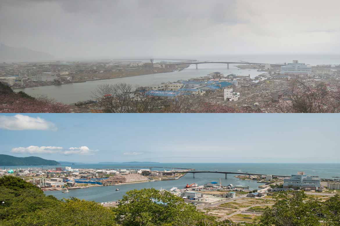 Top: Ishinomaki one month after the disaster; Bottom: six months after.