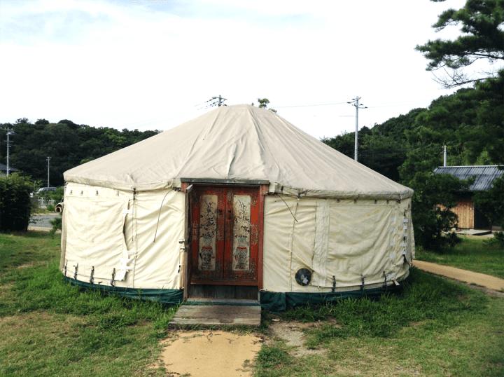 Yurt accommodation on Naoshima Island