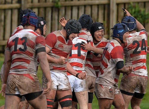 Japan Under 18s after scoring the winning try against Scotland Under 19s. Alex with clenched fists.