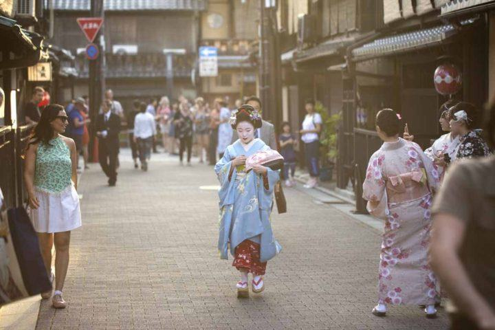 A maiko wandering the streets of Gion, Kyoto's geisha district