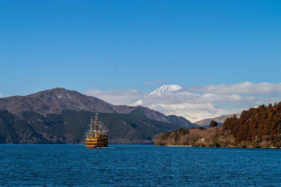 Mount Fuji in all her glory - seen from the shores of Lake Ashi