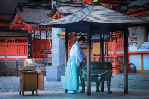 A priest at one of the Kumano Kodo's many shrines and temples