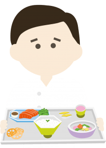 Illustration of a chef with a tray of various foods