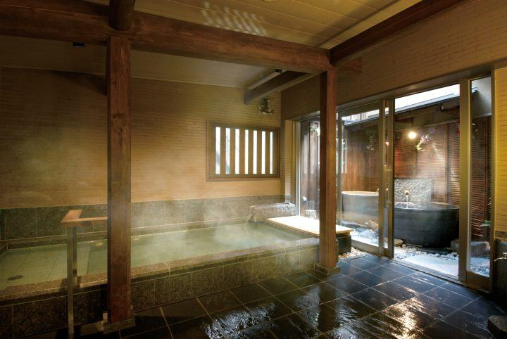 Hot spring bath at a ryokan in Japan