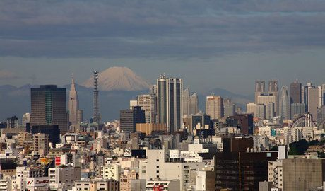 Tokyo with Mount Fuji in the background.