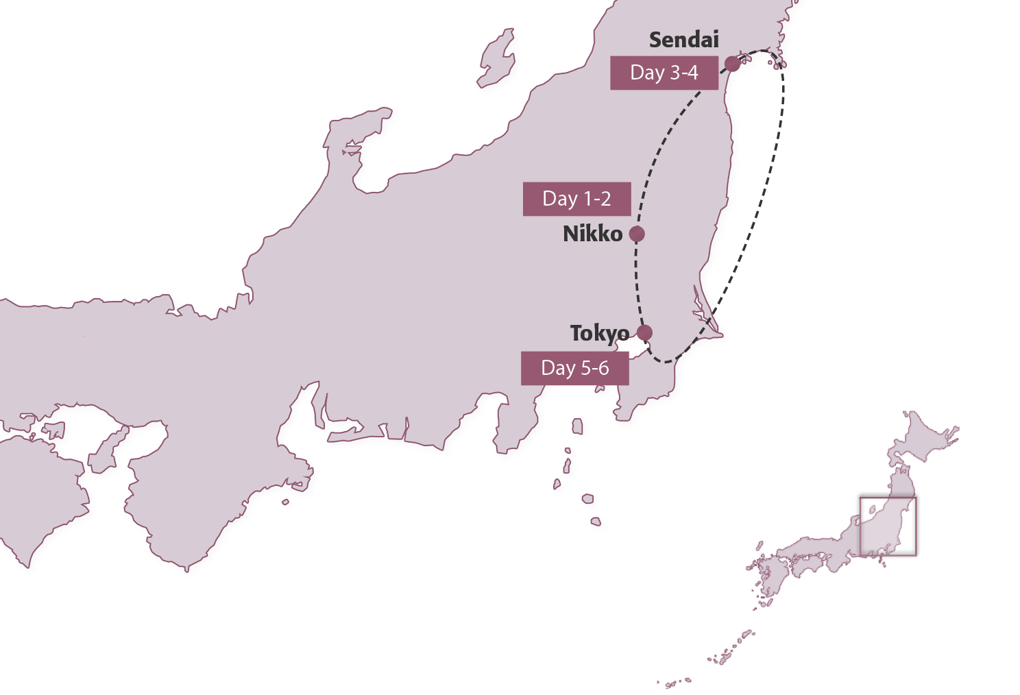 Map for Tohoku (Group Tour Add-On)