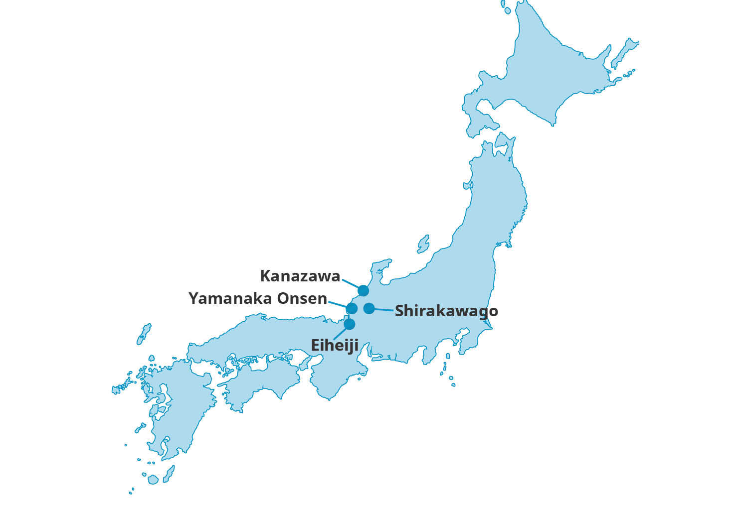 Map for Hokuriku Highlights