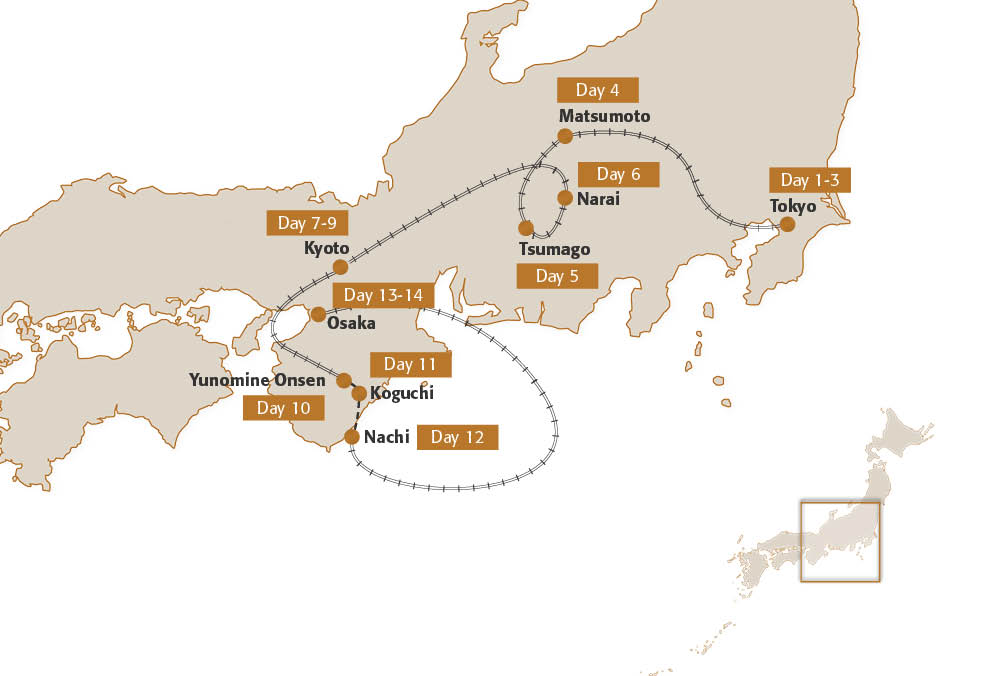 Map for Honshu Hiking