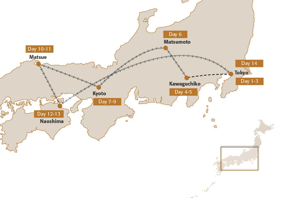 Map for Japan Arts Trail