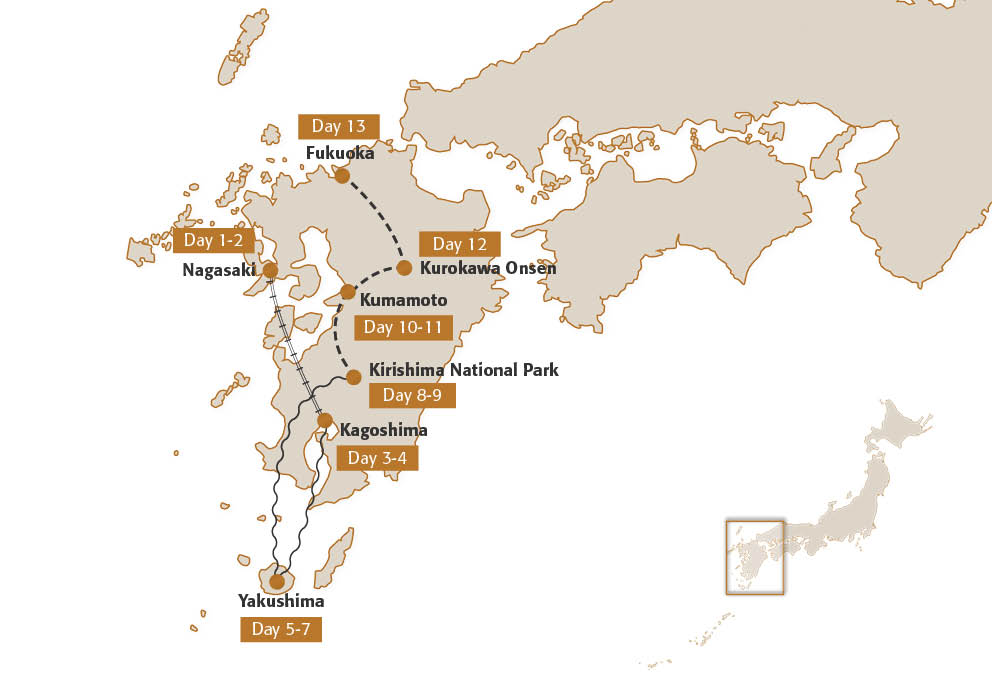 Map for Kyushu Adventure