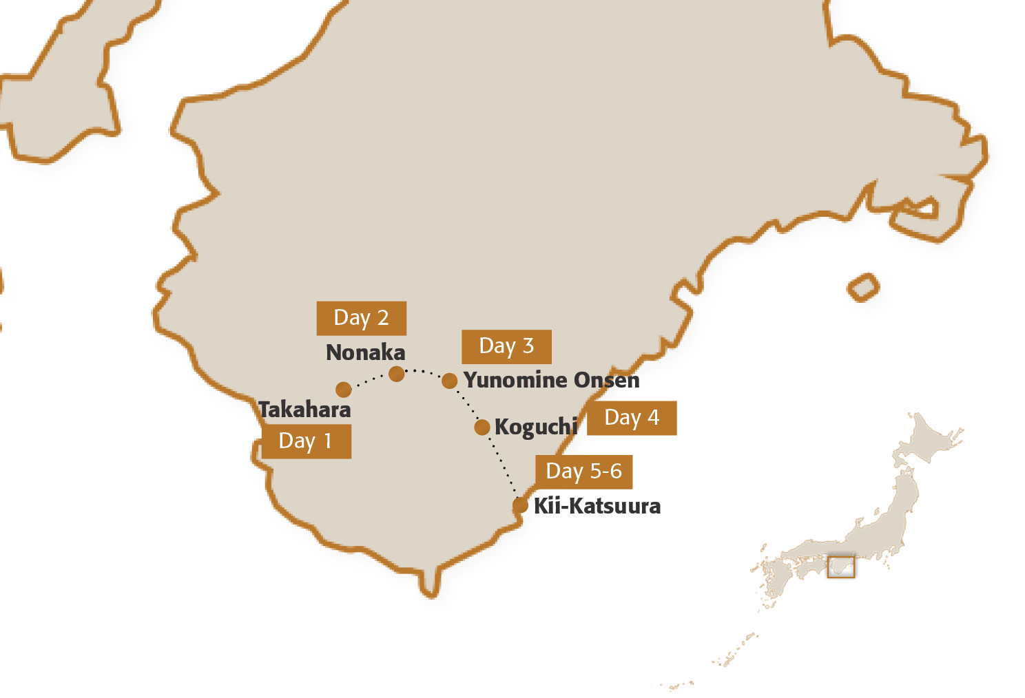 Map for Kumano Kodo Five-Night Module (Advanced Hiking)