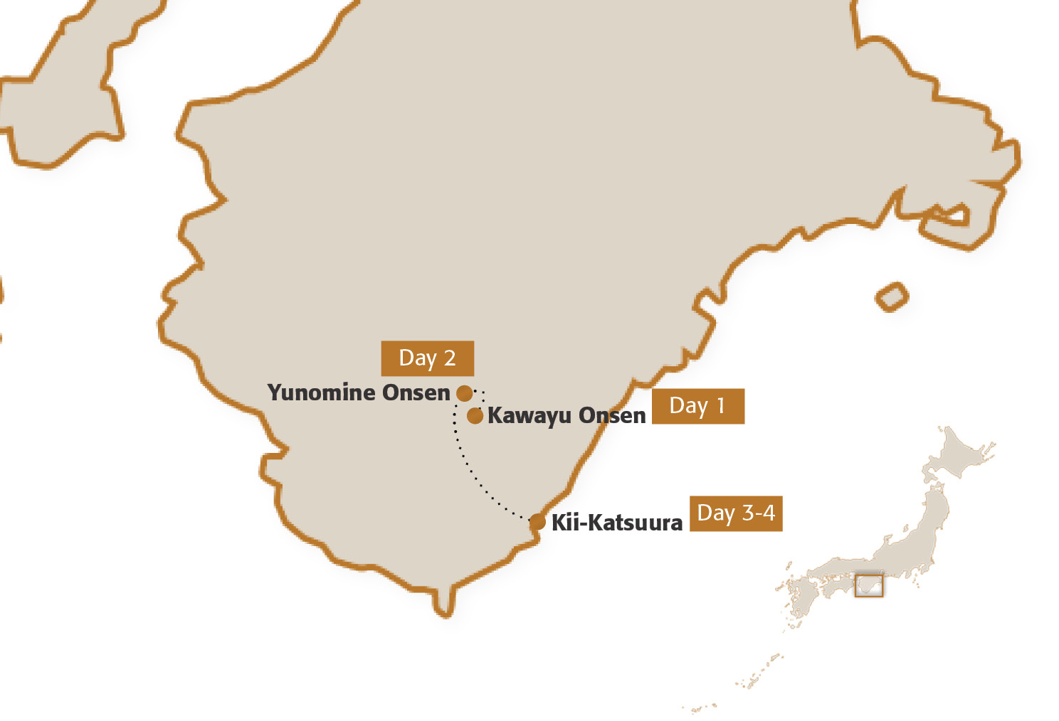 Map for Kumano Kodo Three-Night Module (Gentle Walking)