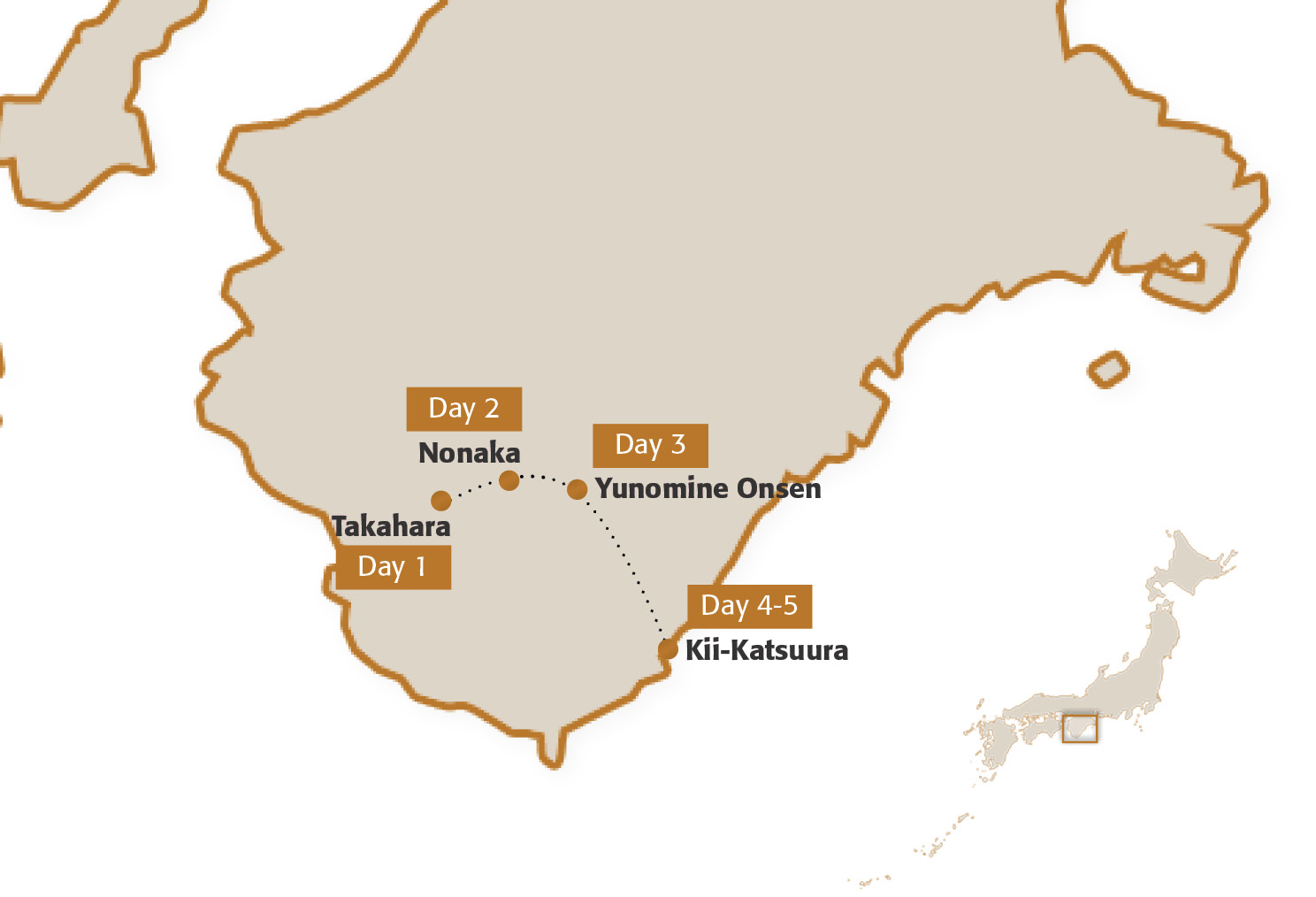 Map for Kumano Kodo Four-Night Module (Intermediate Hiking)