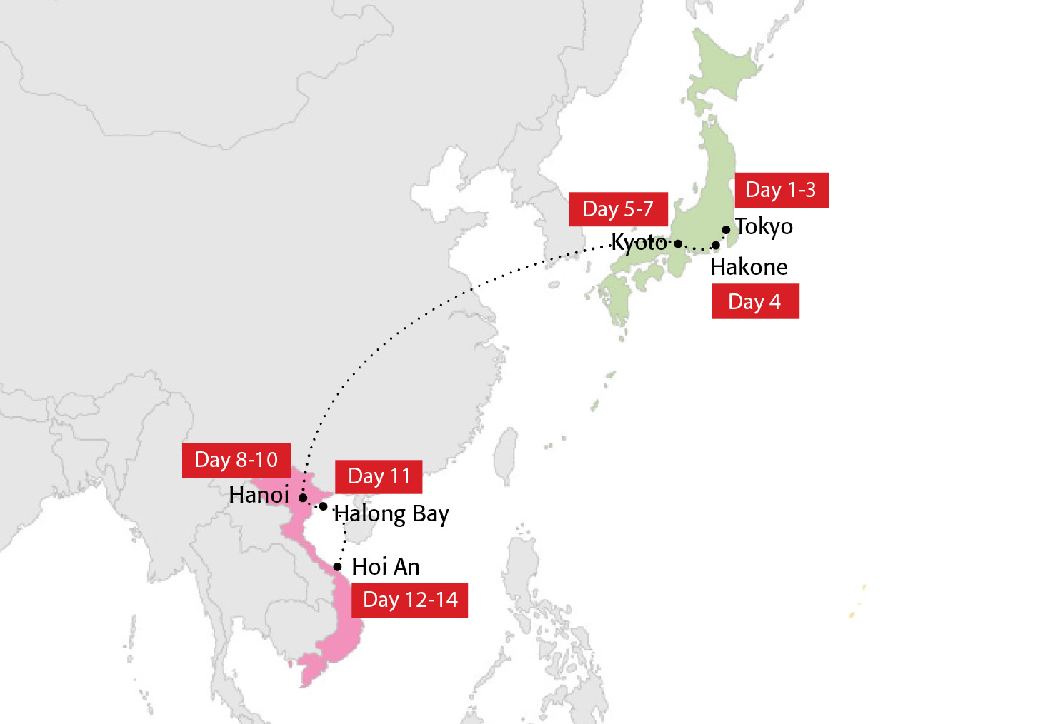 Map for One Asia Pass: Tokyo to Hanoi