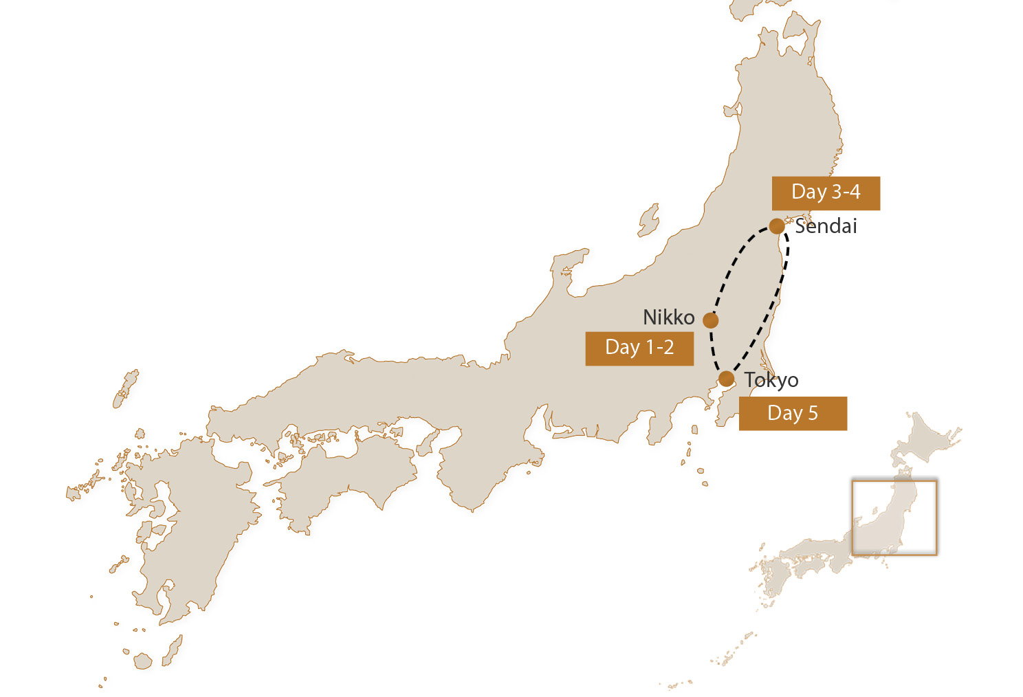 Map for Tohoku Five-Night Group Tour Add-On